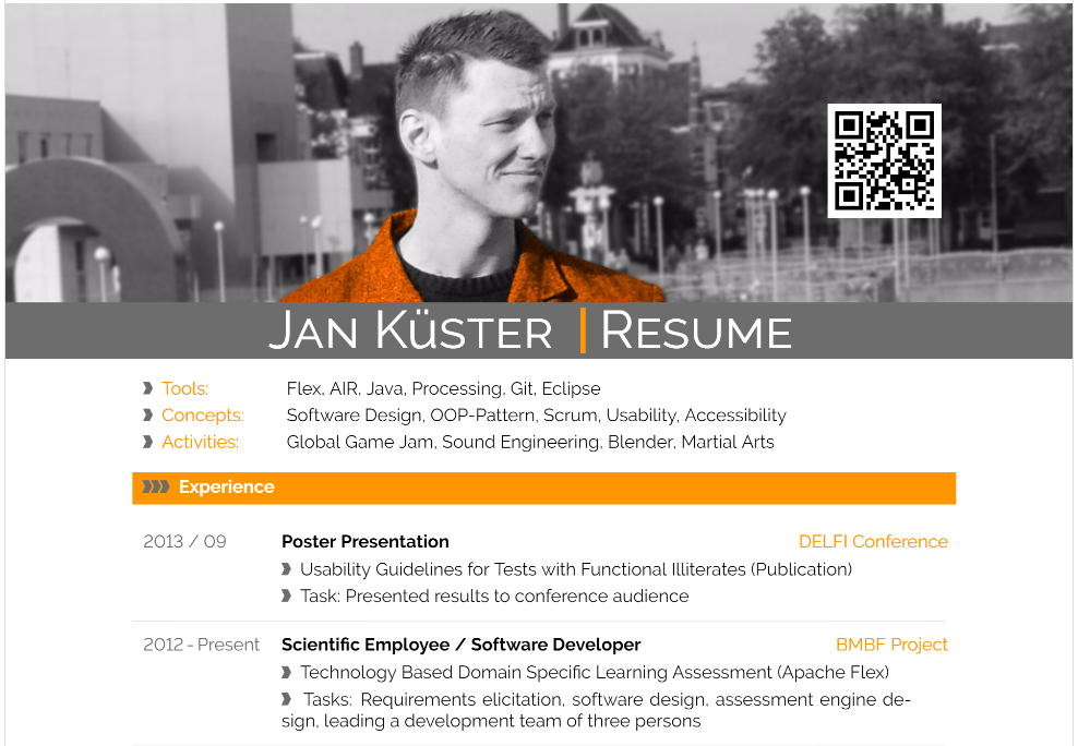 Resume / Curriculum Vitae of Jan Kuester